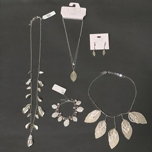 BUNDLE 5pc Leaf Silvertone Necklace Earrings